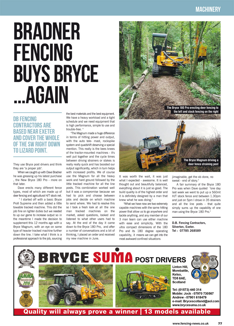 Bradner Fencing Buys Bryce... Again