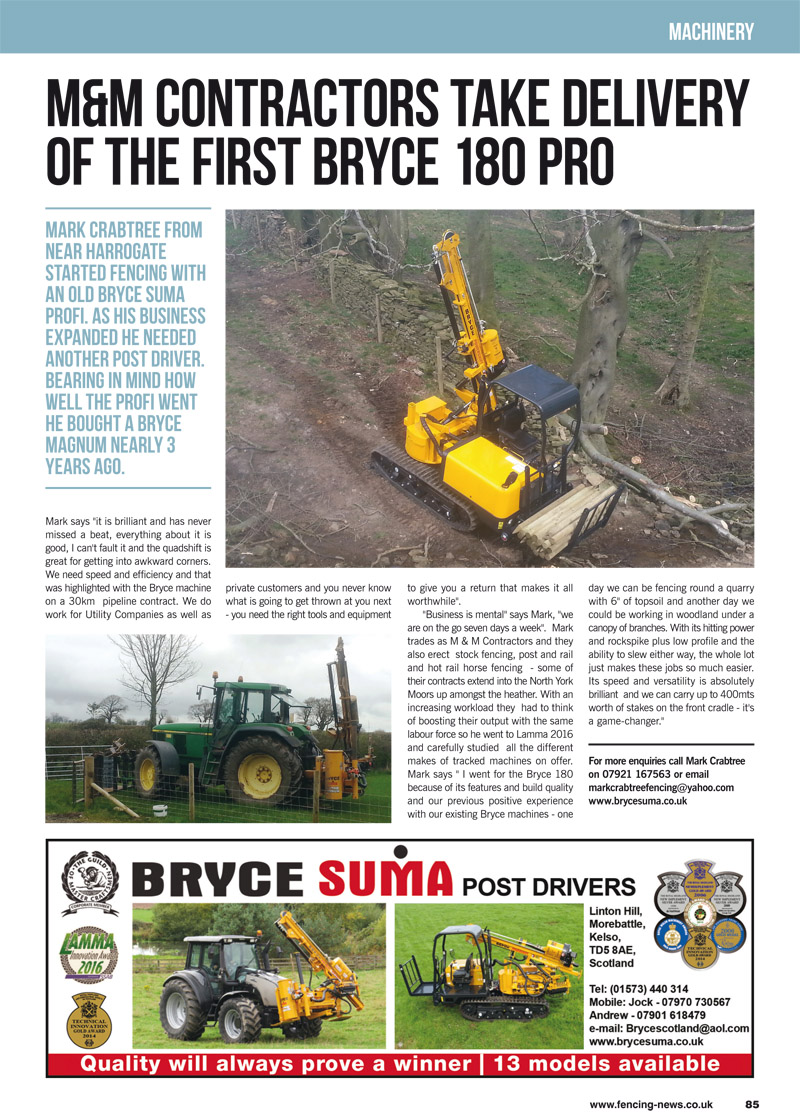 M&M Contractors Take Delivery of the First Bryce 180 Pro